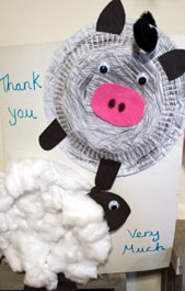 Our lovely 'thank you' card made by the children at St Saviours Pre-School